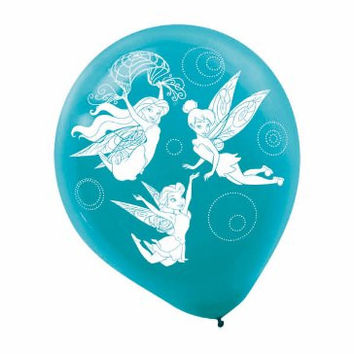 "Disney Tinkerbell Birthday Party Latex Balloons (6 Pack), Blue/Green, 12""."