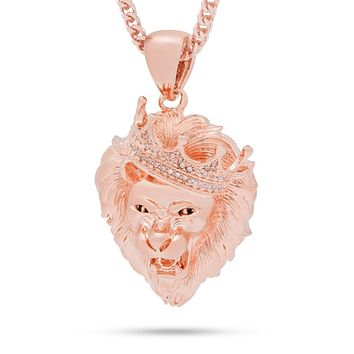 The Rose Gold Roaring Lion CZ Necklace