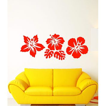 Vinyl Wall Decal Exotic Flowers Buds Beach Style Stickers (2829ig)