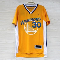 Yellow Short-Sleeved Stephen Curry Jerseys Basketball Shirts Sport #30 Sportswear Retail