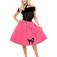 Charades Women's Poodle Skirt With Velvet Top And Scarf
