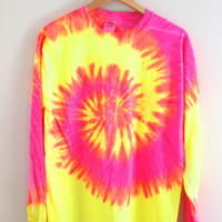 Tropical Neon Tie-Dye Long Sleeve Tee