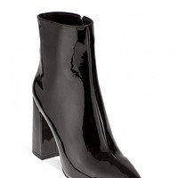 Hallucinations Block Heeled Ankle Boots In Black Patent