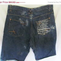Baggy Skater Jean Shorts sz 40 Blue Jean Shorts Grungy 90 Baggy Fit 90s Grunge Denim Jeans