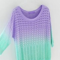 A 081904 Colorful gradient hollow pullover sweater-878