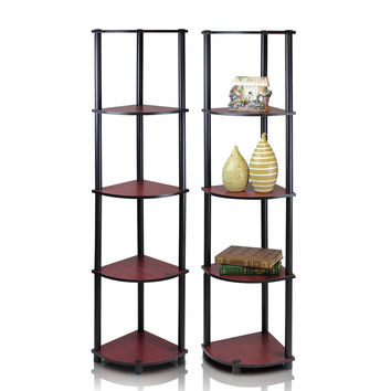 2-99811DC Furinno Turn-N-Tube 5-Tier Corner Display Shelves, Set of 2
