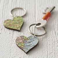 Heart Shaped Custom Vintage Map Key Ring