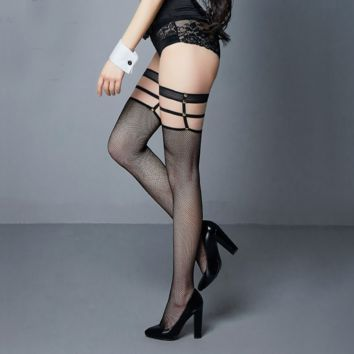 Fashion Sexy circle hollow rivet personality more thigh fishnet stockings stockings