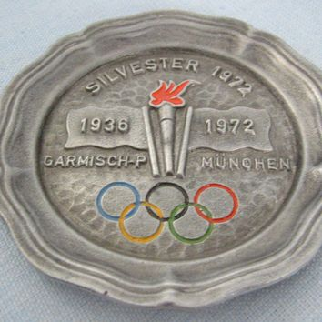 Sylvester Pewter Plate From 1972 Munich Olympic Carmisch P Munchen