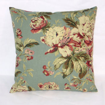 "Teal and Maroon Floral Throw Pillow Waverly Fleuretta in Bayberry Blue Vintage Look 17"" Cotton Square Ready Ship Cover and Insert"