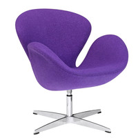 Swan Swivel Chair Fabric, Purple