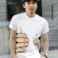 2013 Funny Cool Men's Unisex Cotton Party Big Hand Printed Short Sleeve T-shirt (L)