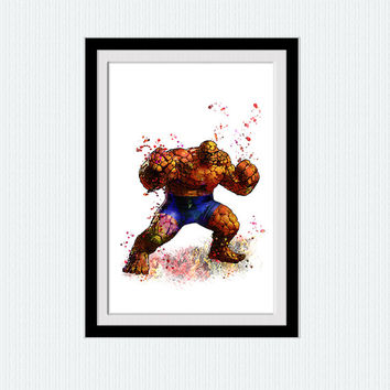 Fantastic Four watercolor print The Thing colorful poster Marvel comics decor Superhero wall decor Home decoration Kids room wall art W454