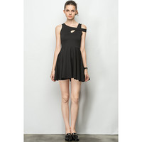 Overlap Stripe Black Little Dress