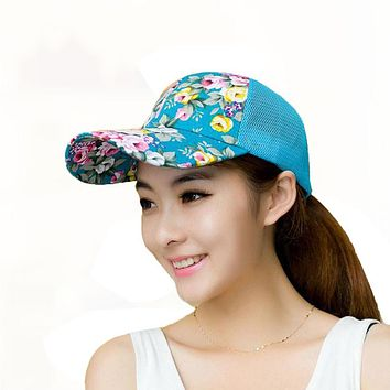 New Female Floral Hat Baseball Cap Mesh Spring And Summer Leisure Sun Hat Snapback Cap 2017
