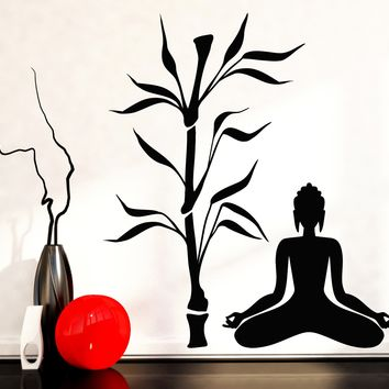 Vinyl Decal Buddha and Bamboo Tree Yoga Studio Decoration Buddhism Meditation Relaxation OM Zen Unique Gift (z2666)