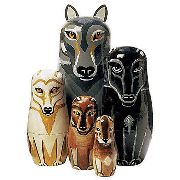 """Bits and Pieces - """"Wolf Pack"""" - Matryoshka Dolls - Wooden Russian Nesting Dolls - Wolf - Animal Figurines - Stacking Doll Set of 5"""