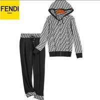 FENDI Newest Fashionable Women Casual Knit Long Sleeve Hoodie Sweater Top Pants Two-Piece Black