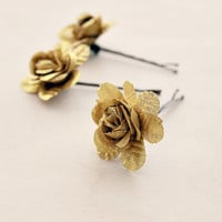 Gold Rose Flower Bobby Pins. Woodland. Whimsical. Flower hair clip. Wedding. Fall, Bridesmaids. Hair Accessories. Bobby Pins (Set of 3)