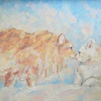 """Cats, Cats lovers, """"Two. Acquaintance"""", Original Oil Painting, Impasto, Canvas, Hardboard, Wedding, Marriage, Cat painting, Gift, Birthday"""