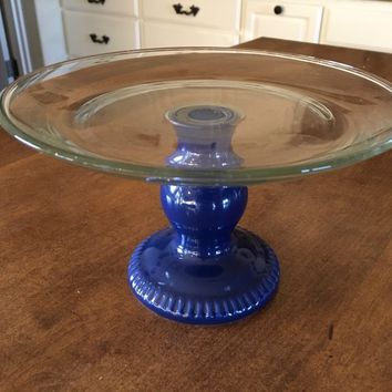 """Anchor Hocking Cobalt Blue Pedestal with Clear Cake Plate 8"""" Wide"""