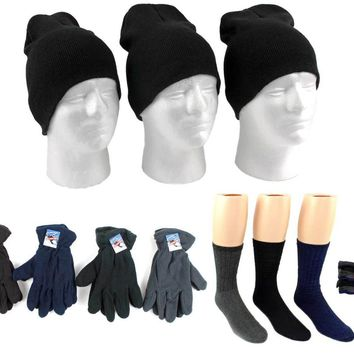 Adult Beanie Knit Hats, Men's Fleece Gloves, and W - CASE OF 180