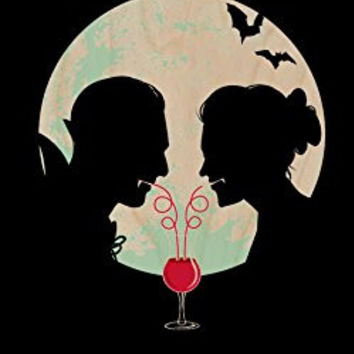 'Bloody Couple' Vampire Date Silhouettes w/ Moon & Bats - Plywood Wood Print Poster Wall Art
