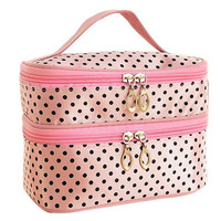 2015Double layer small dots cosmetic bag  makeup tool storage bag  multifunctional Storage package  free shipping  S385-1
