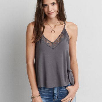 AEO Soft & Sexy Lace Racerback Tank, Lead