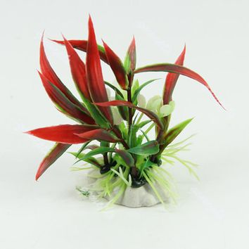 Aquarium Fish Tank Landscape Ornament Decor Red Artificial Plastic Water Plant