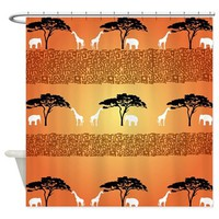 Elephant and Giraffe Sunset Shower Curtain> Jah King Home Decor> Jah King Designs