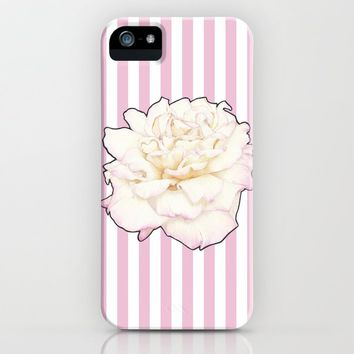 Pale Rose on Stripes iPhone Case by drawingsbylam