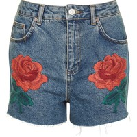MOTO Rose Embroidered Shorts | Topshop