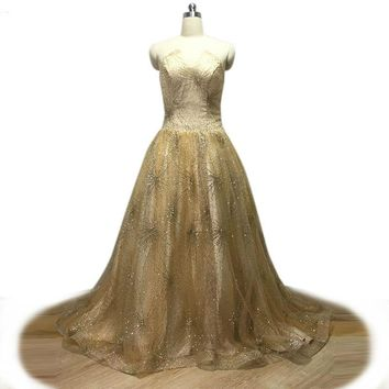 Gold Glitter Evening Dress Sexy Strapless Prom Dress Floor Long Party Gown Custom Lace Up Gown
