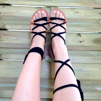 Gladiator Sandals - Elegant Black Jersey