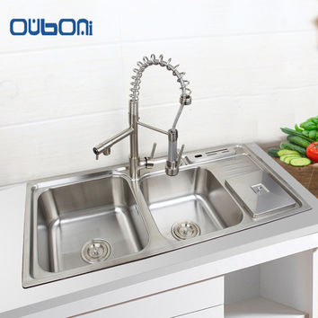 OUBONI Kitchen Sink Vessel Set With Faucet Double Sinks Kitchen Sink Undermount Kitchen Washing Vanity 920mmx450mm