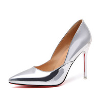 2016 Autumn High Heels Shoes Woman Elegant Thin High Heels Pointed Toe Patent Women's Pumps for Party Gold Silver Color F-505-30