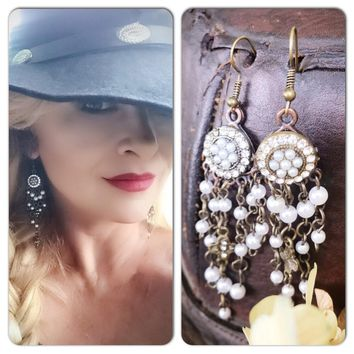 Romantic pearl earrings, crystal n pearl drop earrings, boho jewelry, True Rebel Clothing