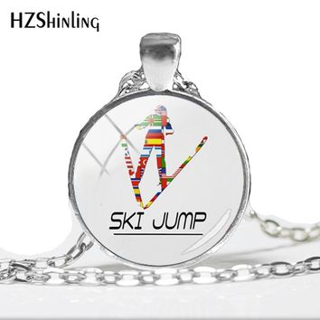2018 NEW Keep Calm And Love Ski Jumping Pendant Ski Jump Murano Necklace Glass Art Picture Necklaces Pendants Round Jewery HZ1