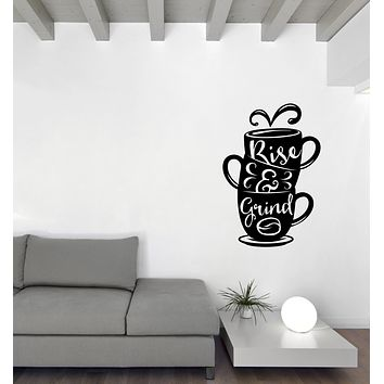 Vinyl Wall Decal Words on Cup Quotes About Coffee Home Interior Decor (n1126)