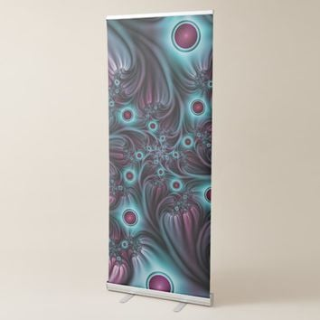 Into the Depth Blue Pink Abstract Fractal Art Retractable Banner