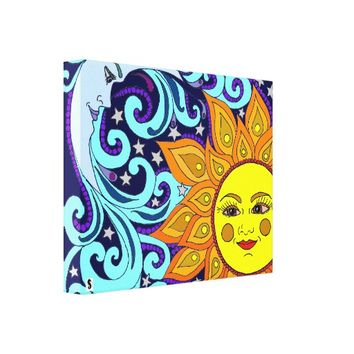 Sun, Moon And Stars Canvas Art