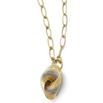 14k Two Tone Gold Italian Twisted Pendant Necklace, 18 Inch