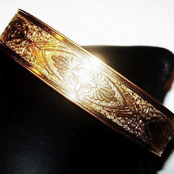 Victorian Bangle Bracelet P&H 1/20 10K Gold Filled Etched Floral Sz 7 Vintage