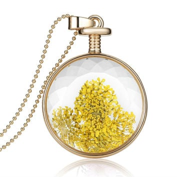 Dry Flowers Glass Pendant Necklace