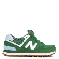 New Balance Picnic 574 Sneakers in Green with White & Blue Light