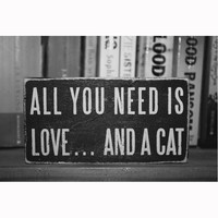 """All You Need is Love & a Cat"" Wooden Box Sign"