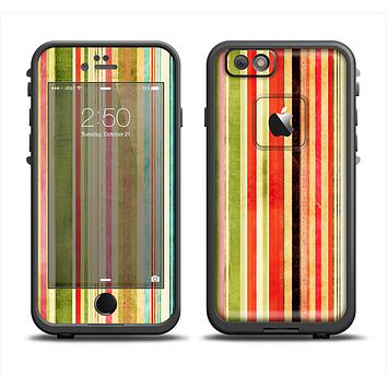 The Brightly Colored Vertical Grungy Stripes Apple iPhone 6 LifeProof Fre Case Skin Set