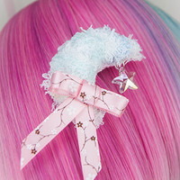 Kawaii Fairy Kei Pastel Goth Sweet Lolita Fuzzy Crescent Moon and Crystal Star Clip