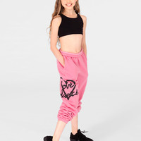 "Free Shipping - Adult And Child ""Love Dance"" Heart Sweat Pants by URBAN DANCEWEAR"